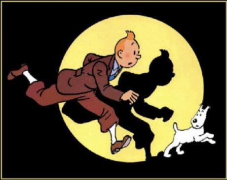 Un desen realizat în tuş şi culoare cu Tintin şi câinele Snowy, adjudecat contra sumei de 505.000 de euro