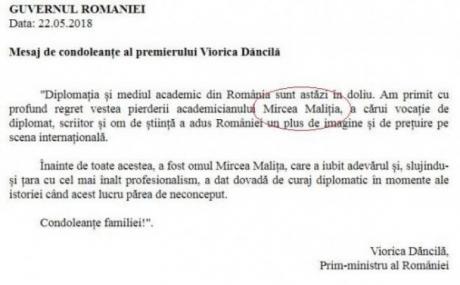 O nouă gafă a Guvernului Dăncilă. Cum a fost 'BOTEZAT' academicianul Mircea Maliţa