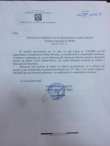 ALERTĂ - Șeful Poliției Capitalei a fost schimbat: va fi CERCETAT/DOCUMENT
