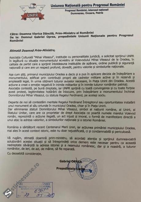 Gabriel Oprea, scrisoare pentru Viorica Dăncilă: UNPR acuză o acțiune ilegală în scandalul statuii lui Mihai Viteazul din Oradea / DOCUMENT
