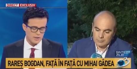 Rareș Bogdan explică de ce a intrat în direct la Antena 3, în emisiunea lui Mihai Gâdea: Vă datorez o explicație