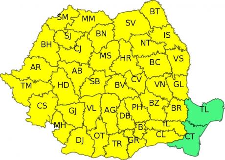 ALERTĂ - COD GALBEN de furtuni în aproape toată țara/HARTA zonelor vizate
